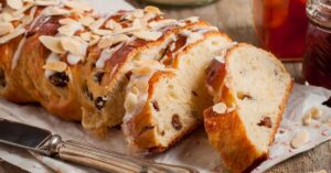 Homemade Braided Sweet Bread with Flaked Almonds