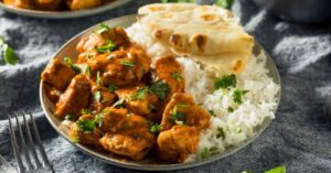 Homemade Buttered Chicken with Naan Bread and Rice