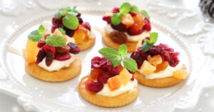 Homemade Canapes with Cranberries and Cream Cheese