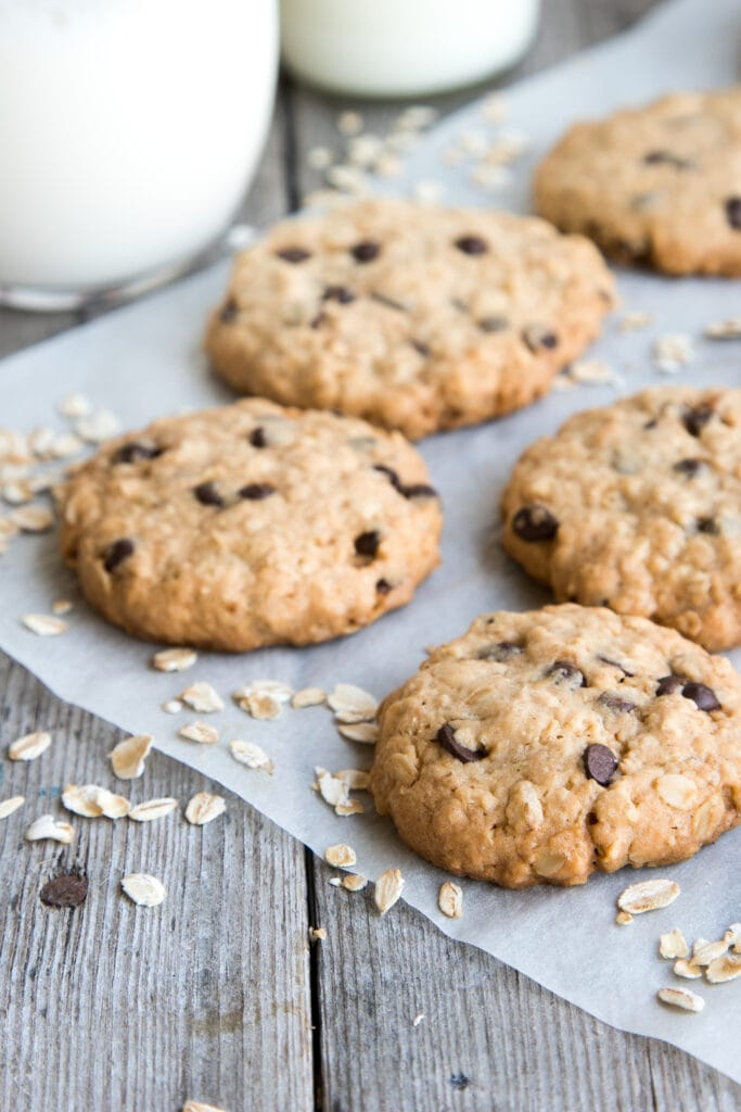 Homemade Cowboy Oatmeal Cookies with Chocolate Chips