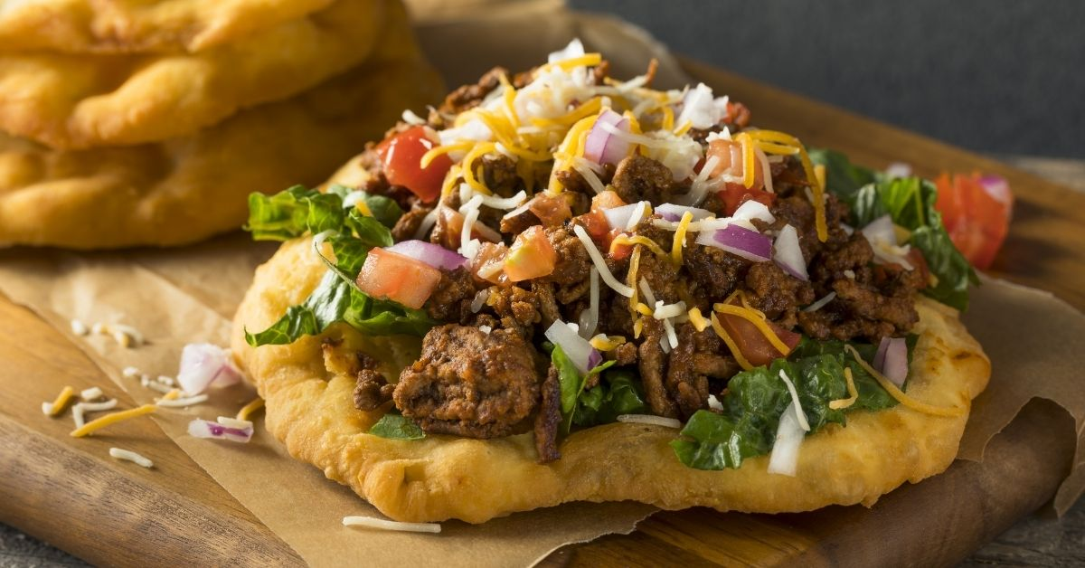 Homemade Fry Bread Tacos with Beef and Vegetables