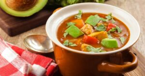 Homemade Keto Chicken Taco Soup with Avocadoes