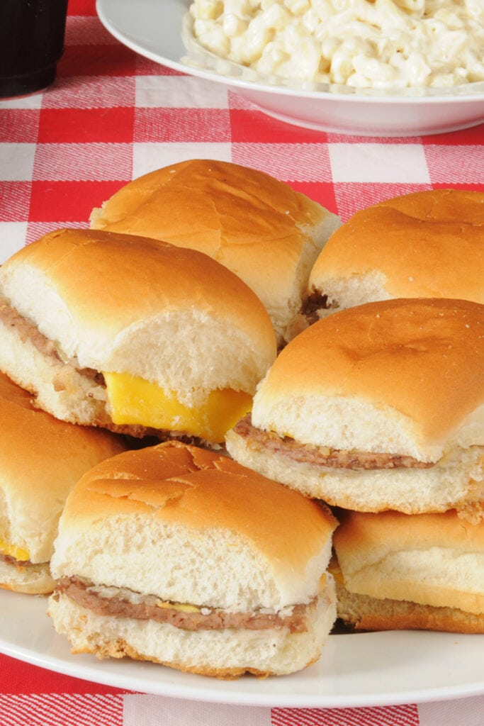 Homemade White Castle Hamburger with Cheese