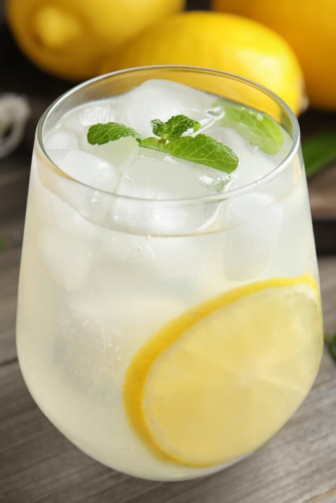 Iced Cold Lemonade in a Glass