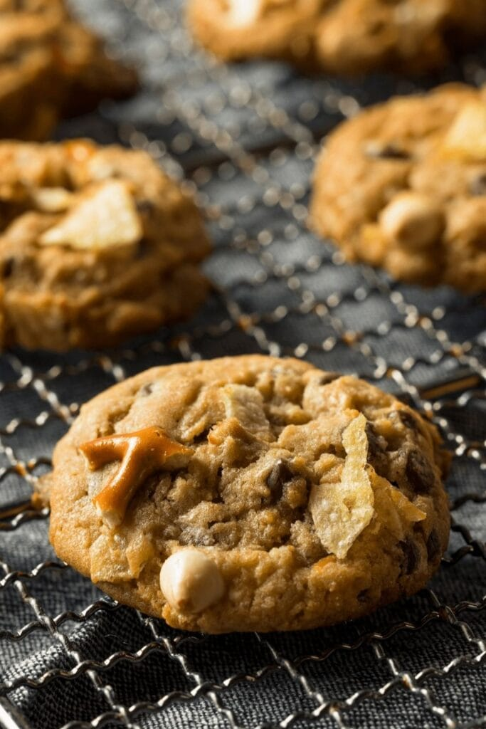 Kitchen Sink Cookies with Crushed Pretzels and Nuts