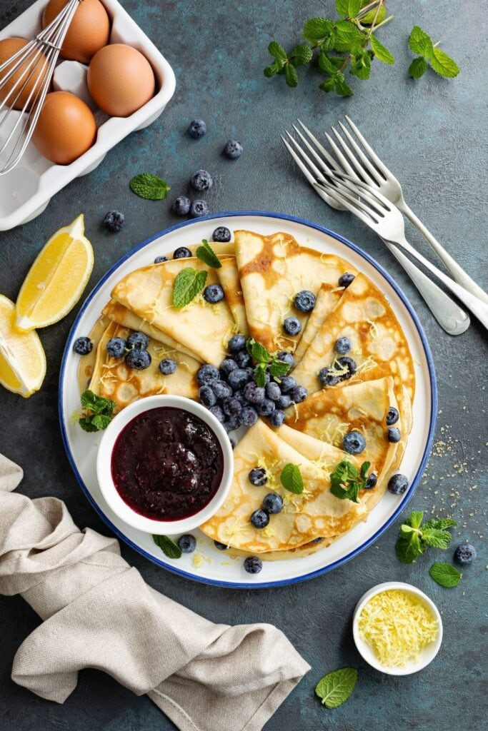 Lemon Pancakes with Jam and Blueberries