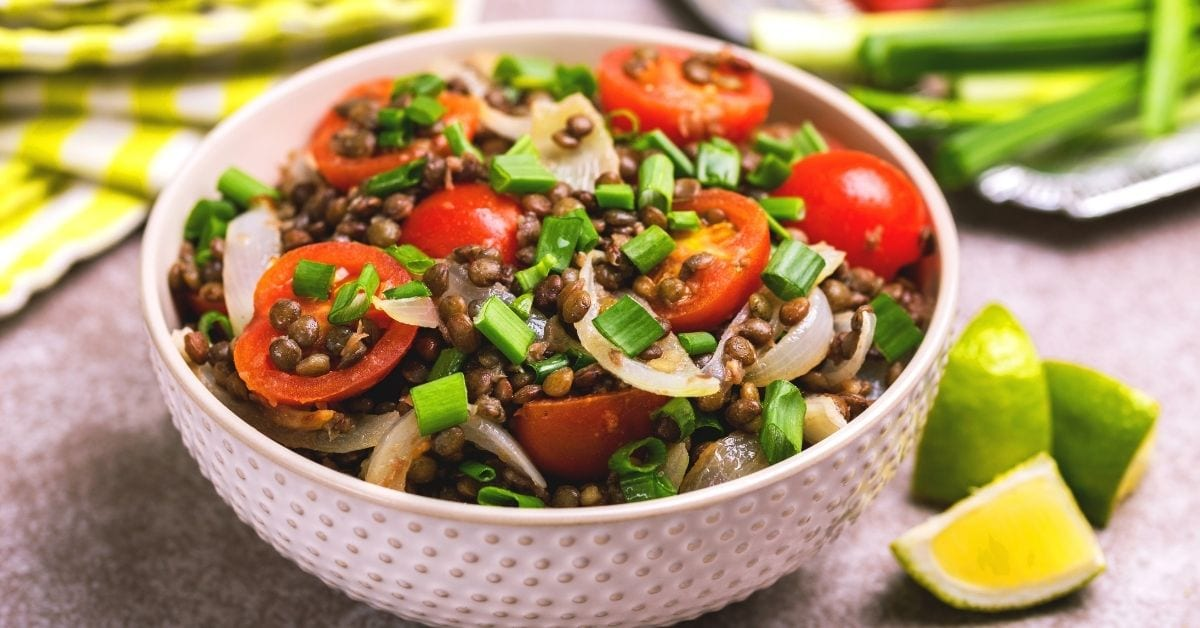 Lentil Salad with Cherry Tomatoes and Onions