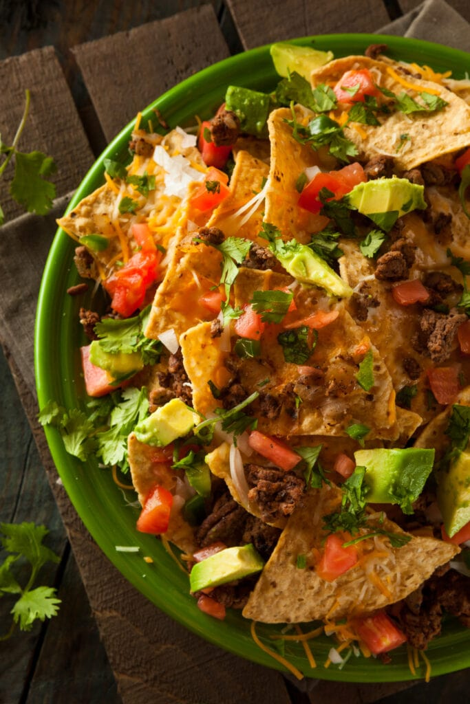 Loaded Beef Nachos with Avocado and Vegetables