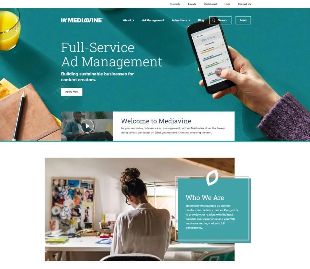 Mediavine Homepage Screenshot