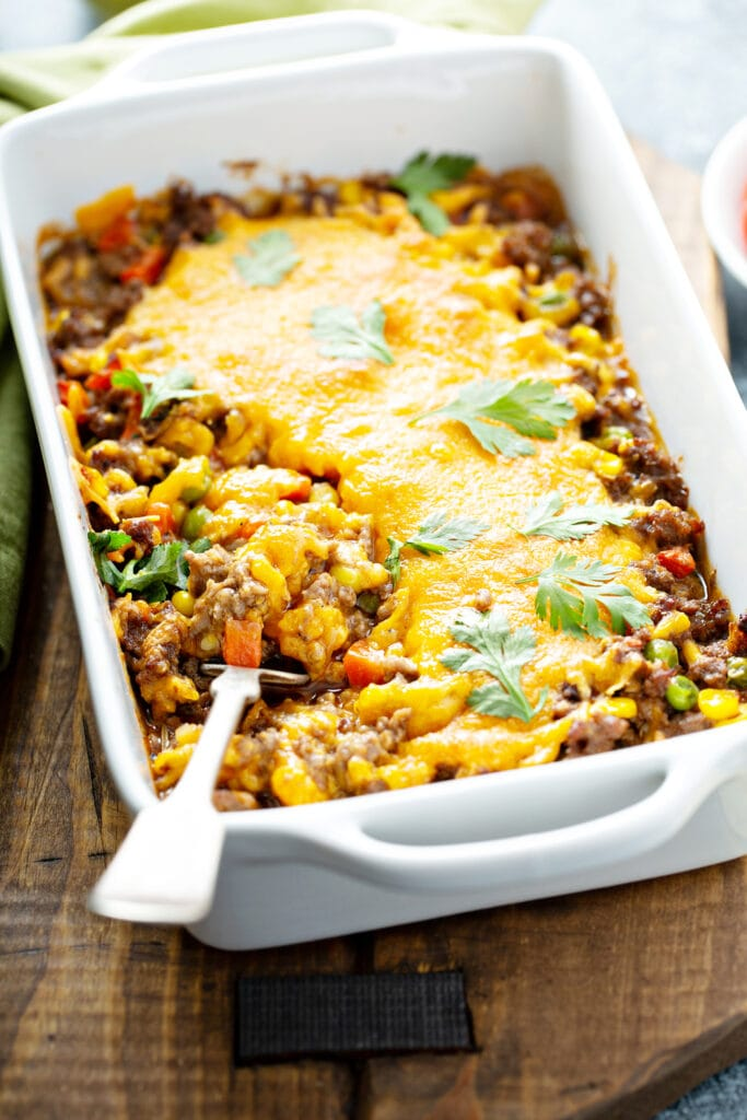 Mexican Meat Casserole with Cheese and Corn