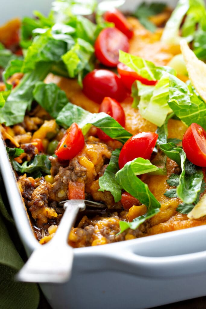 Mexican Meat Casserole with Tomatoes and Cheese