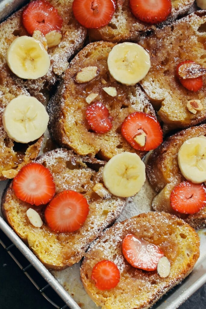 Overnight Baked French Toast with Bananas and Berries