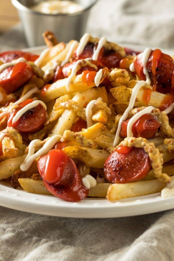 Peruvian Salchipapa: Sausage, Mayonnaise and French Fries