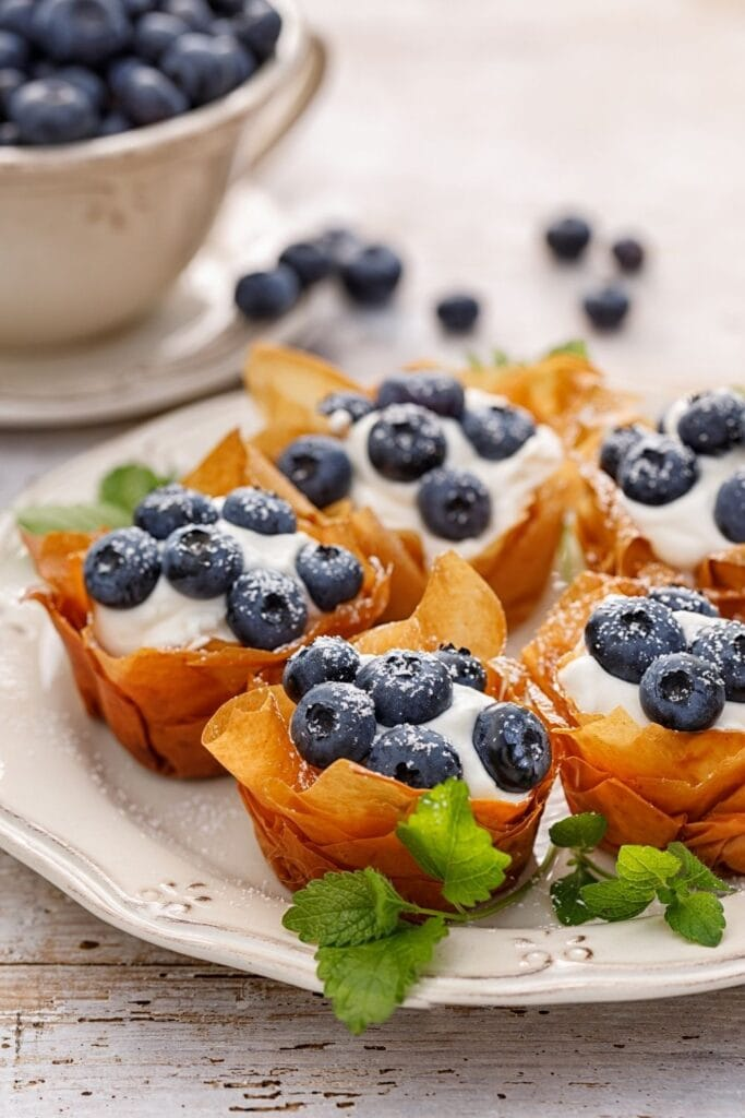 Phyllo Cups with Cream Cheese and Blueberries
