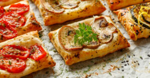 Puff Pastry Appetizers with Zucchini, Tomatoes and Mushrooms
