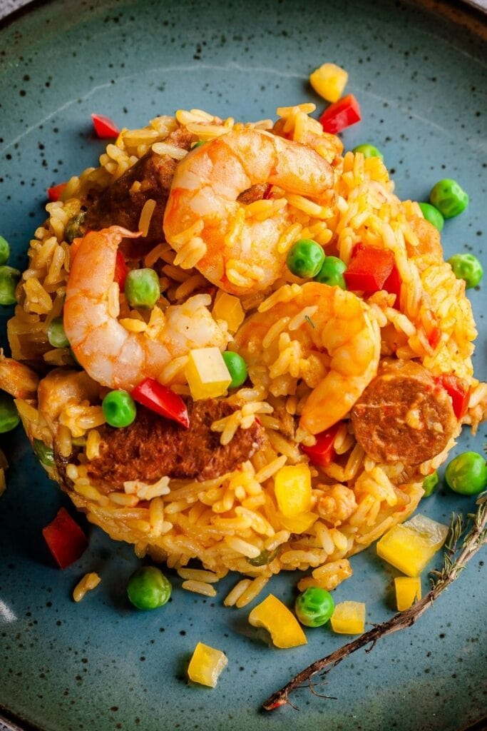 Rice Risotto with Vegetables and Shrimp