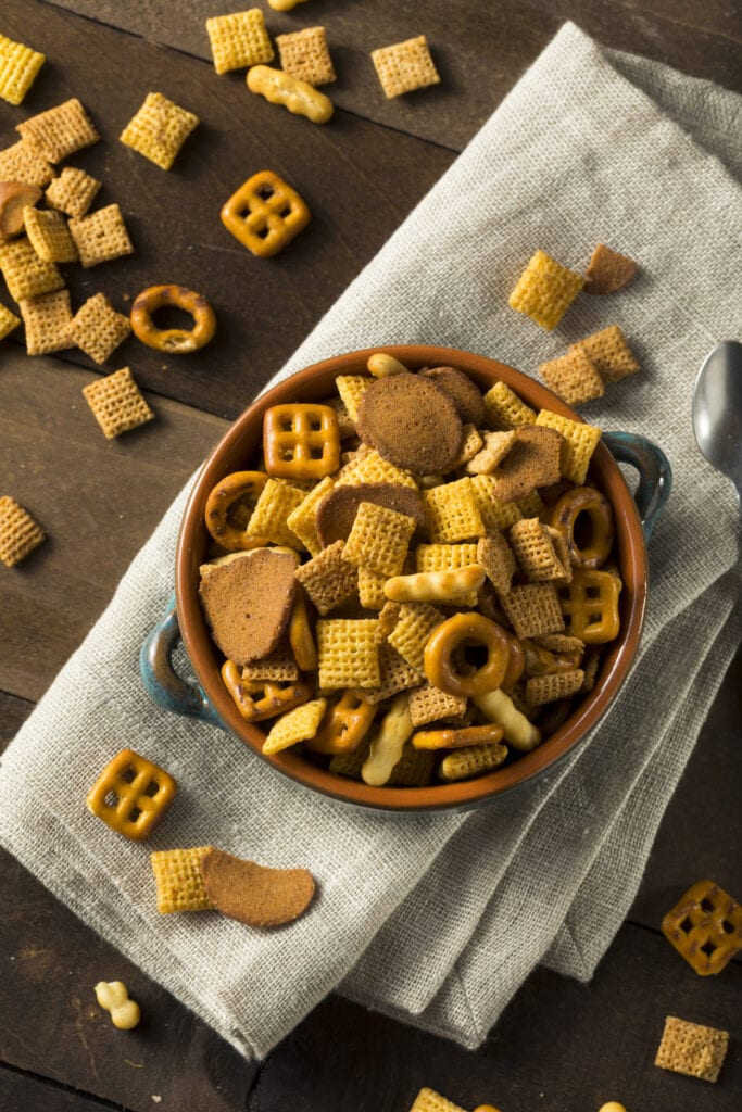 Salty Snack Party Mix with Cereals and Pretzels