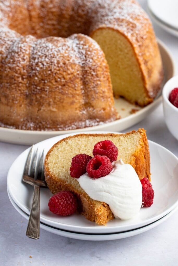 Slice of Pound Cake with Strawberries and Whipped Cream