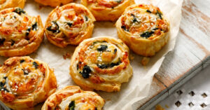 Spinach Pinwheels Pastry with Cheese and Salmon