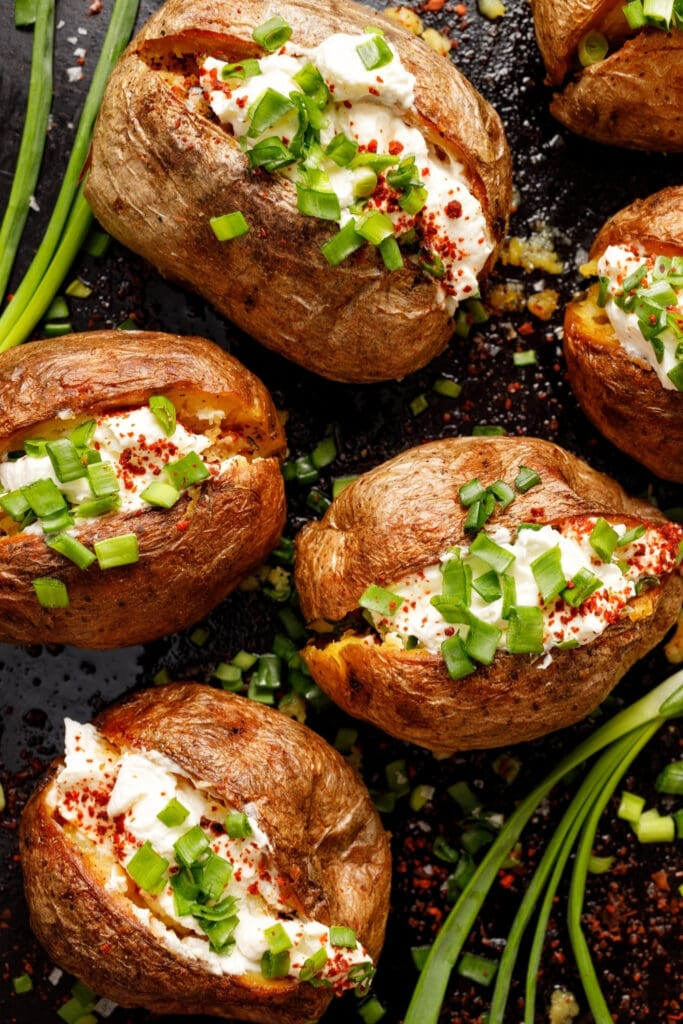 Stuffed Baked Potatoes with Cream Cheese and Green Onions