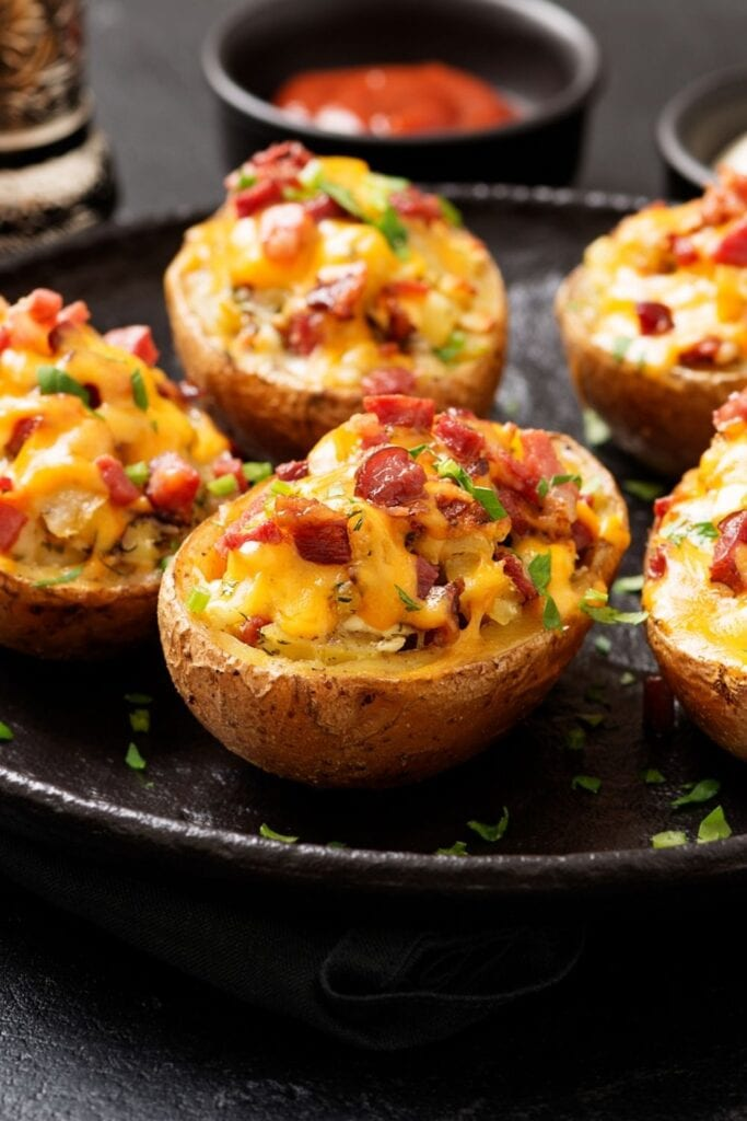 Sweet Potato Skins with Cheese, Onion and Bacon