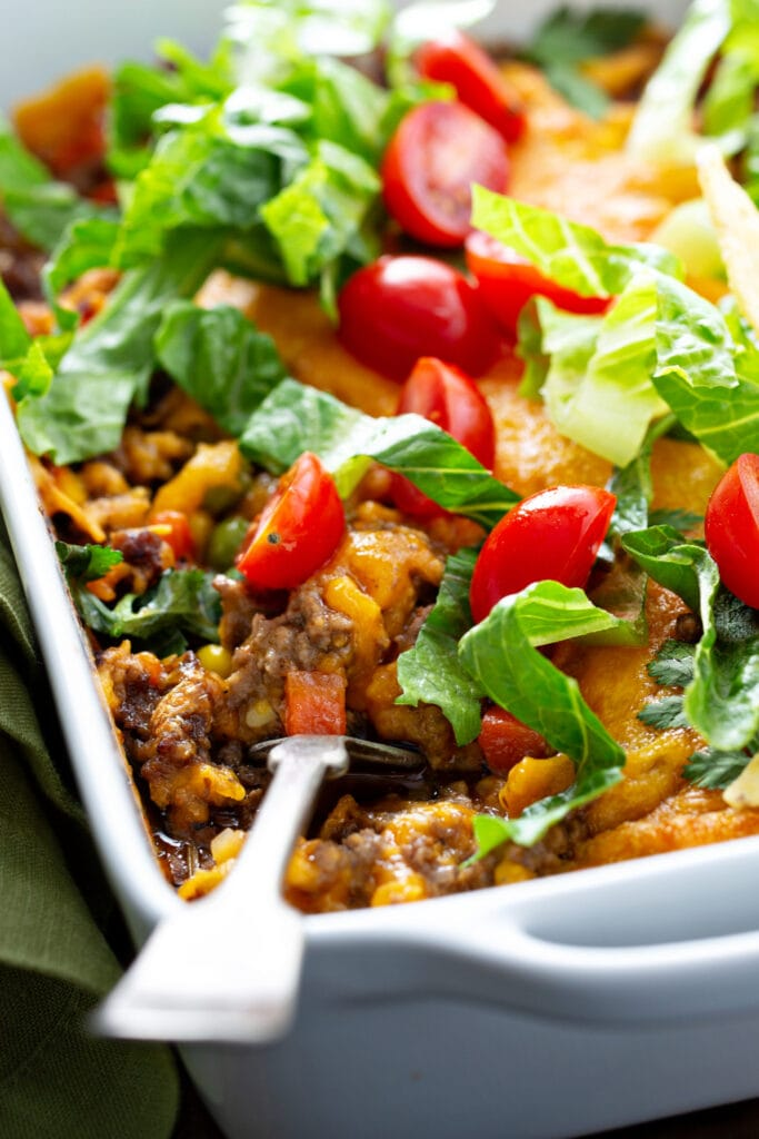 Taco Meat Casserole with Tomatoes and Cheese