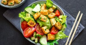 Tofu and Lettuce Salad with Avocados, Tomatoes and Cucumbers
