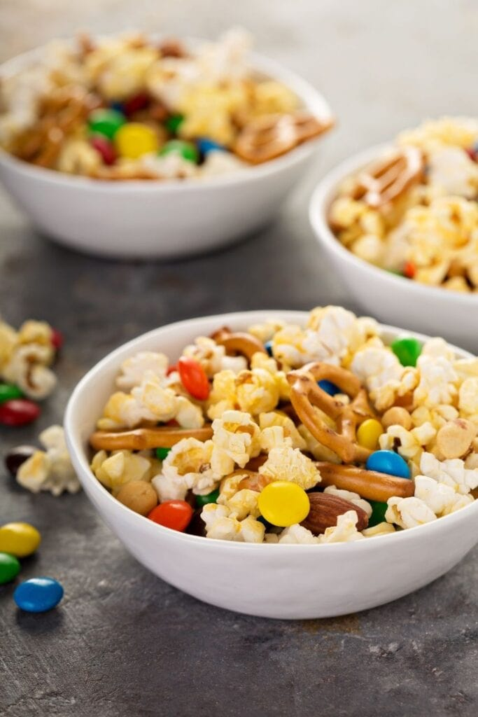 Trail Mix Snacks: Pretzels, Pop Corn, Chocolate Candies and Nuts