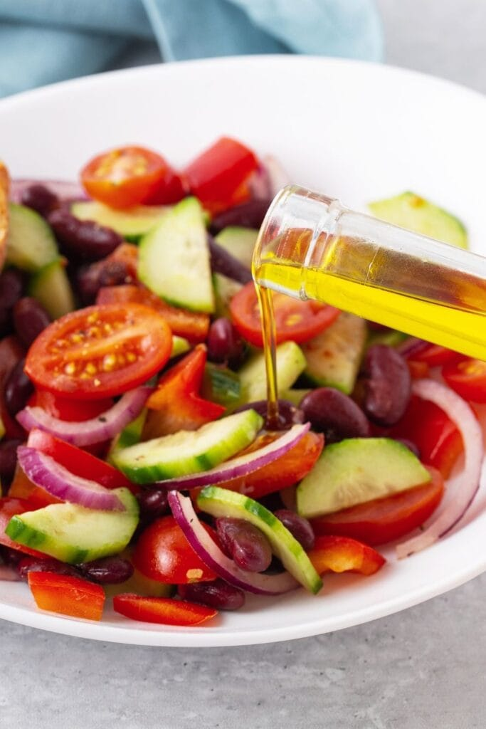 Vegetable Salad with Red Beans and Olive Oil
