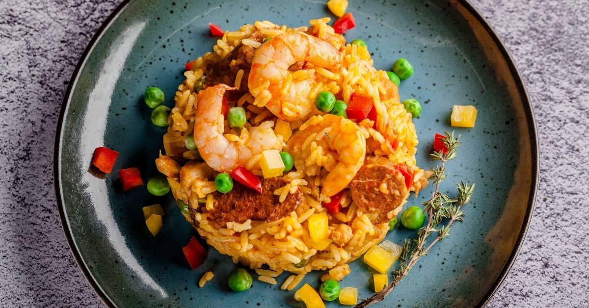 Yellow Rice Risotto with Vegetables and Shrimps