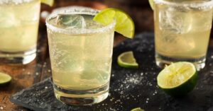 A Glass of Classic Margarita with Lime and Salt
