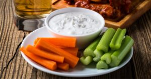 Appetizing Blue Cheese Dressing with Vegetables, Buffalo Chicken Wings and Beer