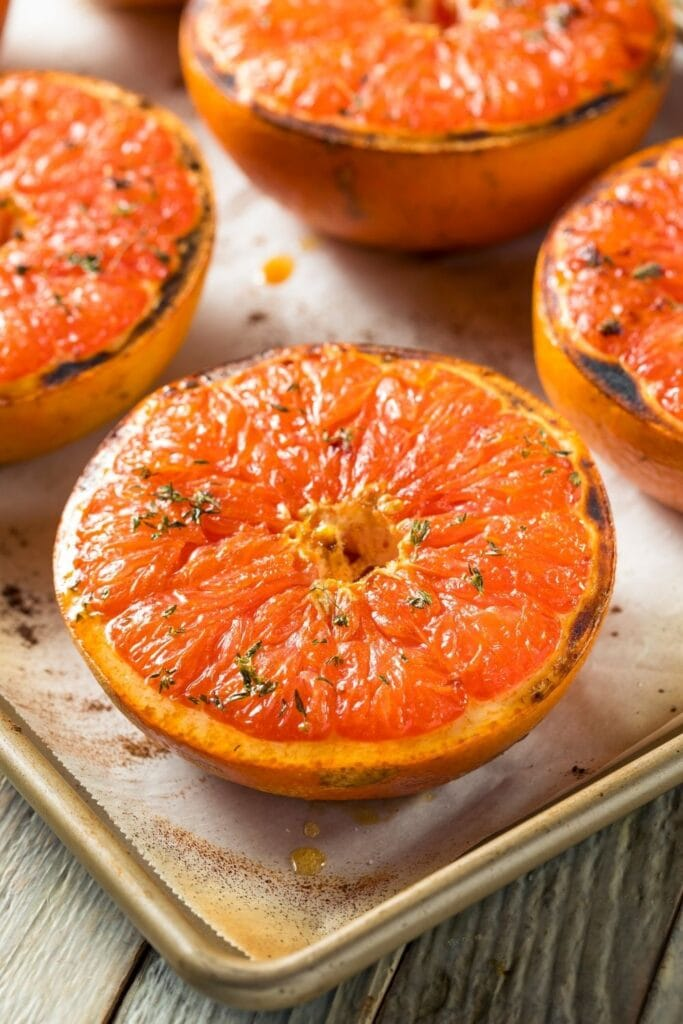 Baked Red Grapefruit with Honey and Thyme