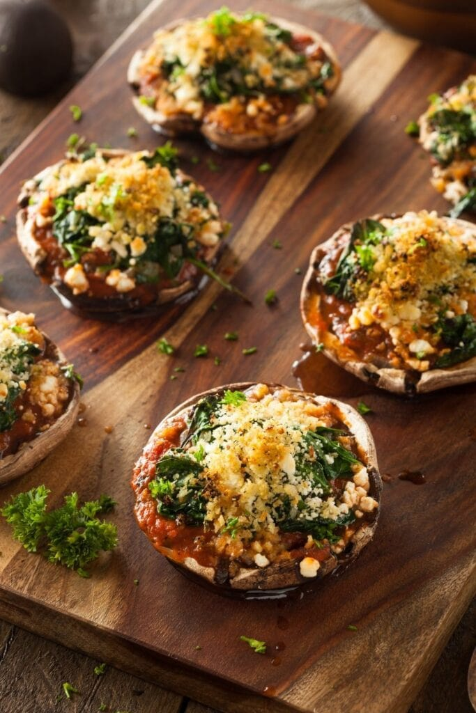 Baked Stuffed Portobello Mushrooms with Spinach and Cheese
