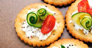 Bite Size Canape with Ricotta Cheese, Zucchini and Tomatoes