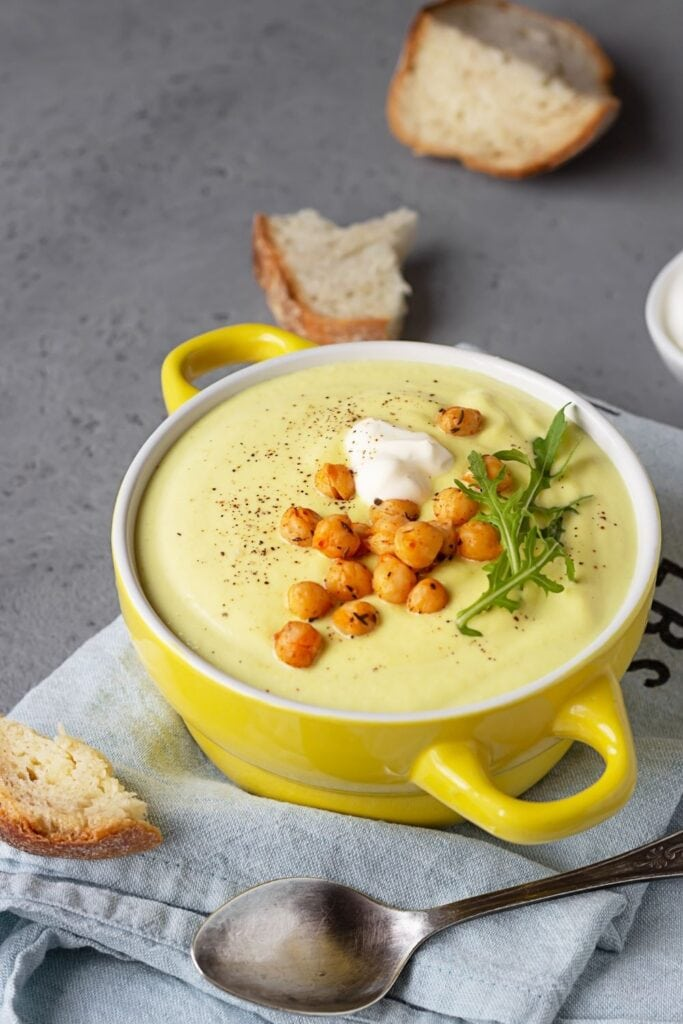Blended Chickpea Cauliflower Soup in a Bowl