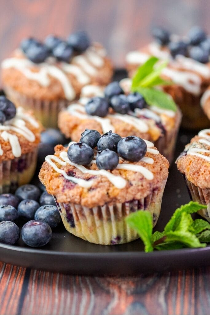 Blueberry Muffins with Fresh Blueberry Toppings