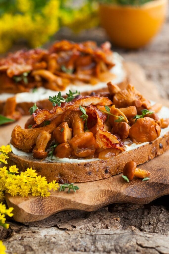 Chanterelle Sandwich with Bacon, Cheese and Thyme