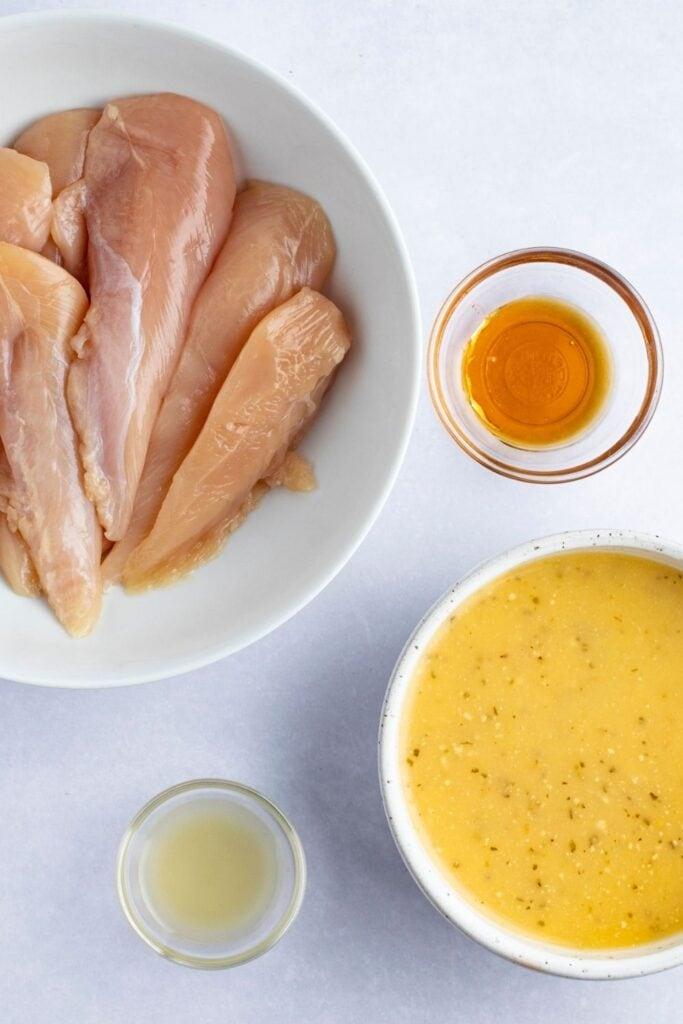 Cracker Barrel Chicken Tenders Ingredients: Raw Chicken Tenders, Italian Dressing, Honey and Lime Juice