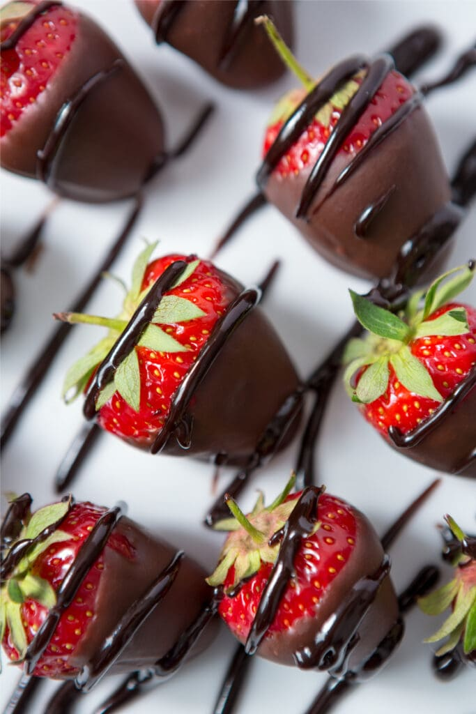 Chocolate Covered Strawberries with Chocolate Syrup