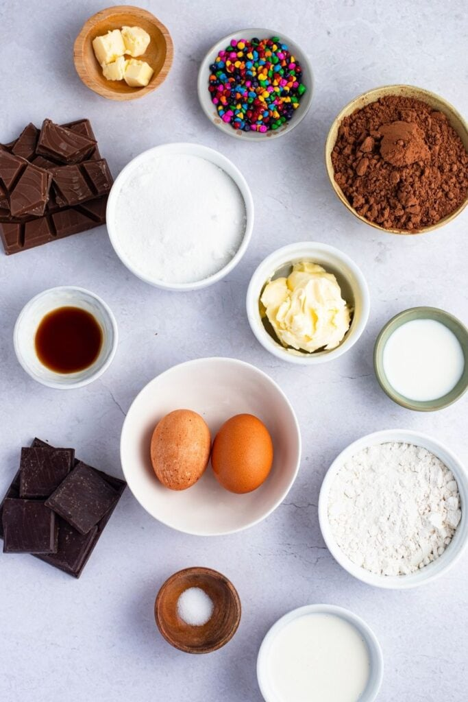 Cosmic Brownies Ingredients: Eggs, Chopped Chocolates, Cocoa Powder, Butter and Sprinkled Chipped Candies