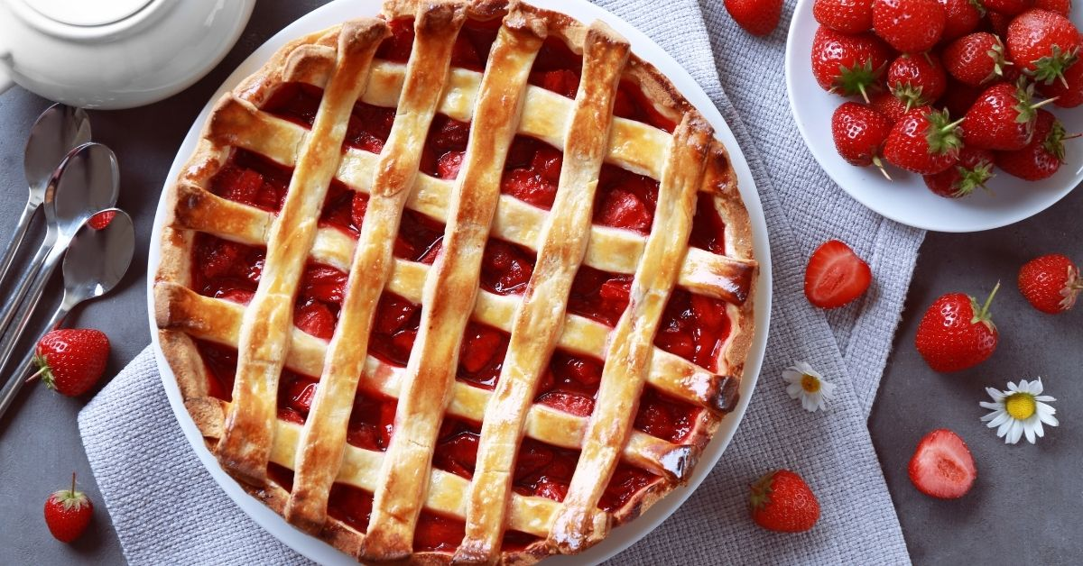 Delicious Strawberry Pie on a Table
