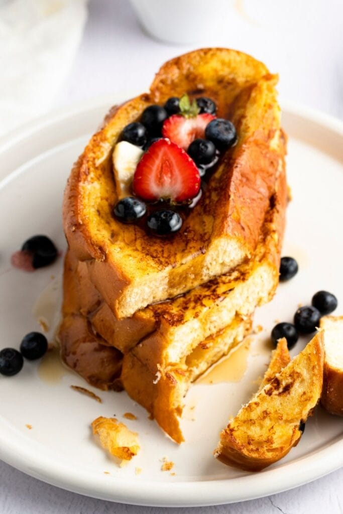 Homemade Alton Brown French Toast with Berries, Butter and Maple Syrup