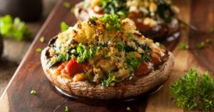 Homemade Baked Portobello Mushrooms Stuffed with Spinach and Cheese