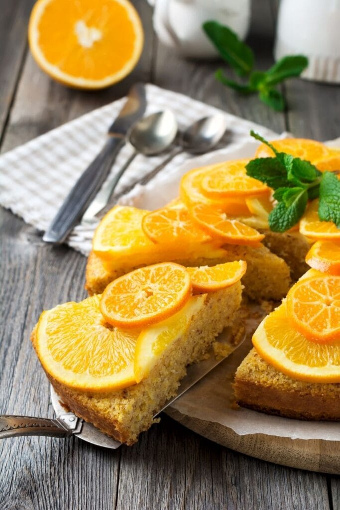 mandarin oranges on cake