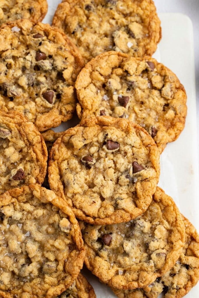 Homemade Cowboy Cookies with Oats and Chocolate Chips