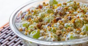 Homemade Grape Salad with Sour Cream and Chopped Nuts