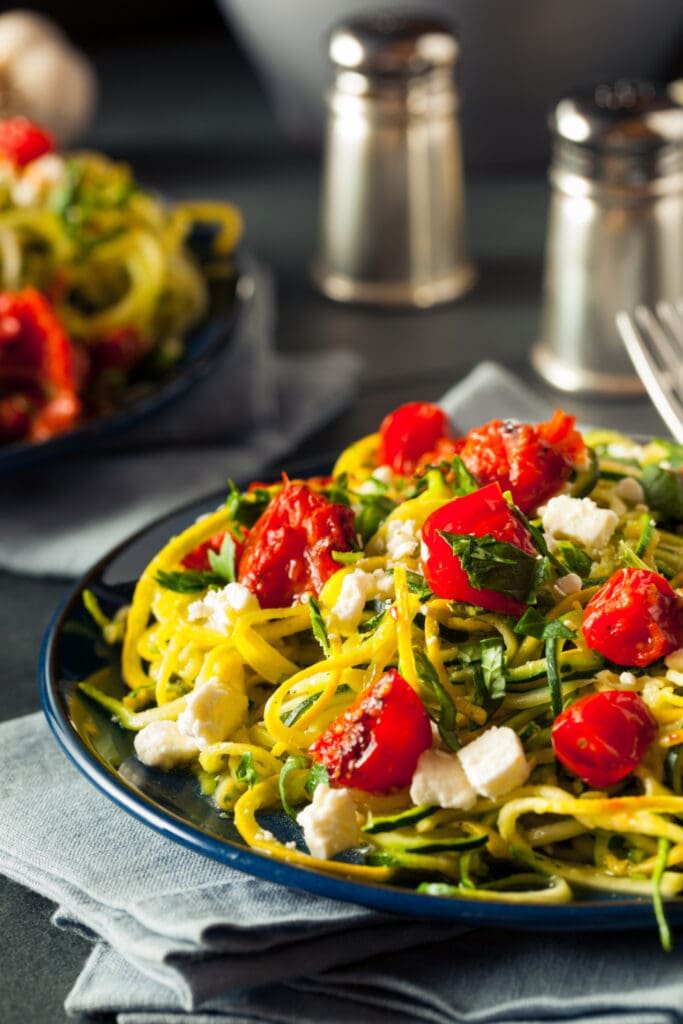 Homemade Zucchini Noodles with Feta Cheese and Cherry Tomatoes