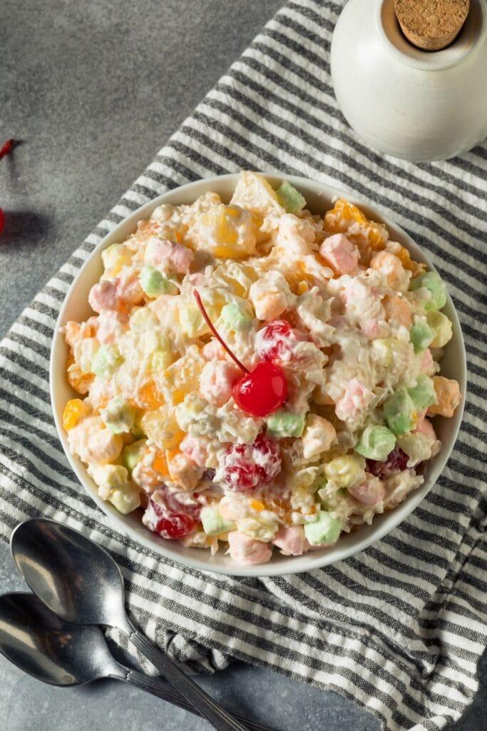 Marshmallow Ambrosia Fruit Salad in a Bowl