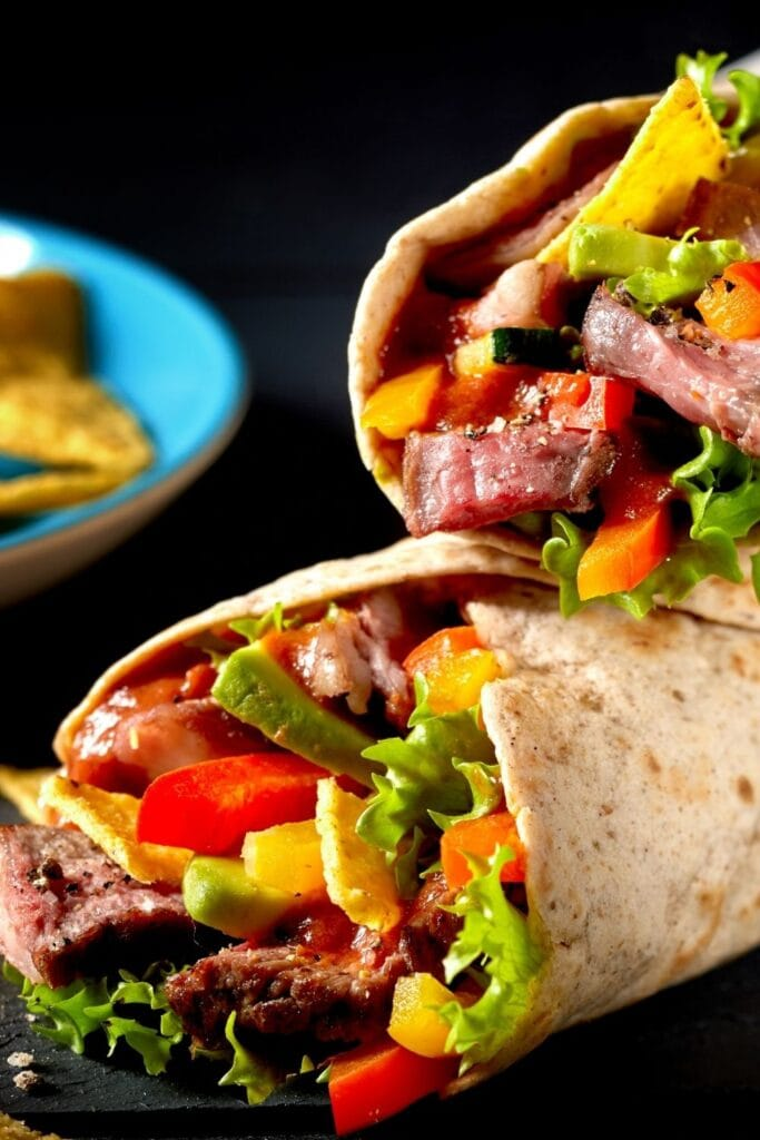 Mexican Tortilla Wraps with Beef Steak and Vegetables